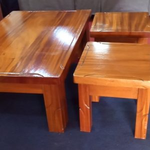 Mahogany Coffee Table with Stools