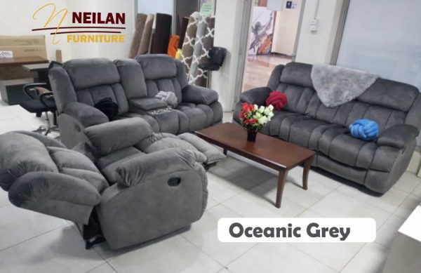 Oceanic Recliner Sofa Set - Grey