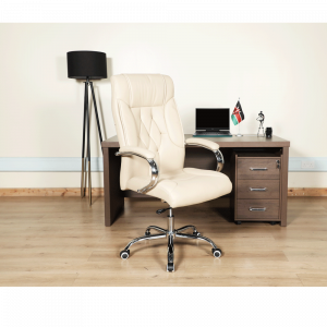 Leather Office Chair - Off White